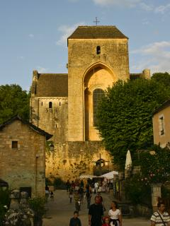 Wandering around Saint-Amand-de-Coly abbey at sunset