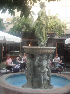 fountain beside the popular ice cream parlour