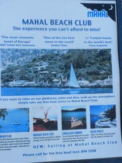 Advert For Mahal Beach Club - approx 5 mins walk