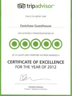 Tripadvisor certificate of excellence winner in 2012 and 2013