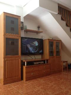 There is a 42' tv/dvd/stereo/internet hot/cold air/con and fan.