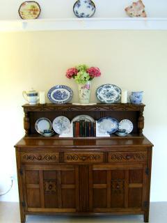 Dresser with vintage plates