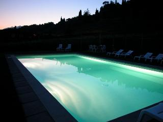 Staffed Tuscan farmhouse with shared outdoor pool, games room and amazing views, sleeps seven