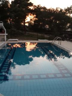 Pool sunset in February