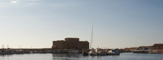 The Paphos castle taken from a boat in the harbour