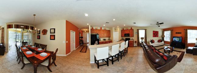 Panoramic view of dining kitchen and livingroom