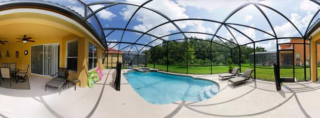 Panoramic view of Pool and dining area