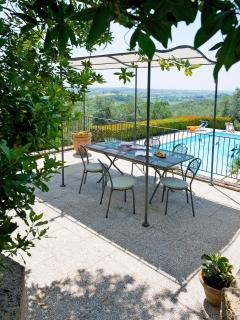 Podere Zollaio: the terrace by the pool