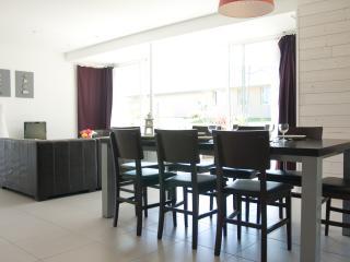 Vue de la salle à manger et du salon depuis la cuisine