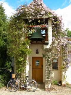 Entrance of the cottage in the spring
