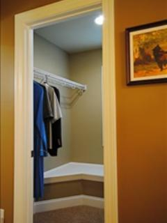 Lots of Storage for Longer Term Stays in the Walk In Closet