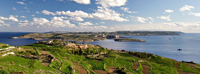 Gozo Landscape; View of Comino and Malta
