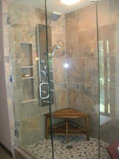Seamless walkin shower for two