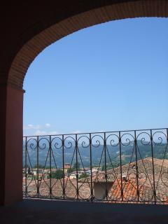 View across Barga to the Apuan Alps from the balcony