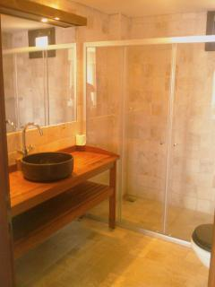 The large walk in luxury shower room