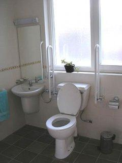 MAIN SHOWER ROOM: toilet 470 mm high with drop down grab rails on both sides.