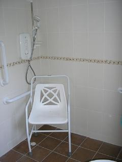 Main shower room level deck shower, shower chair and grab rail.