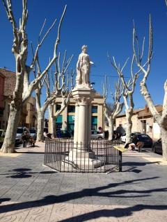 Oldest stone Marianne Statue in France in the center of Marseillan