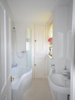 Bathroom with P bath and shower