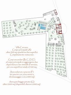 in questa piantina potete apprezzare l'organizzazione del parco di Villa Carcano