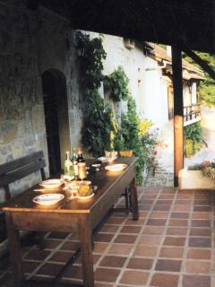 The balcony outside the kitchen