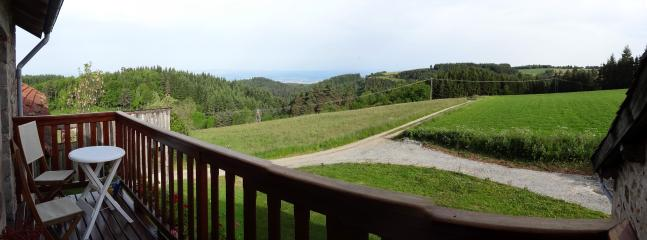 #Le Boucharel - View of #forest and #mountains from guests #balcony at back of house.