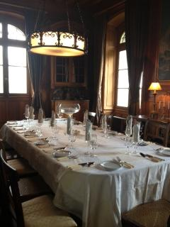 Let us organise a celebration dinner. Oak pannelled dining room for candlelit dinners