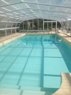 15 m heated pool open April to end October. Child safe.
