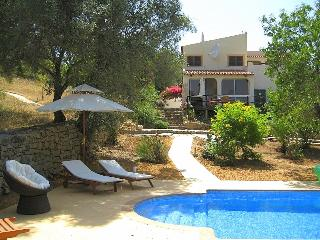 The pool and the front of the villa (the plot of land to the left is our plot)