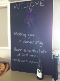Arrival message board with Welcome message for guests