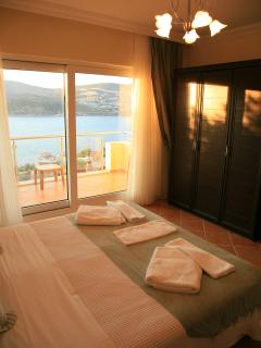 Bedroom, one of four doubles. Every one has fantastic sea views.