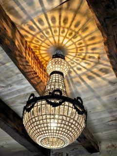 The house is well lit, by sun and by chandelier!