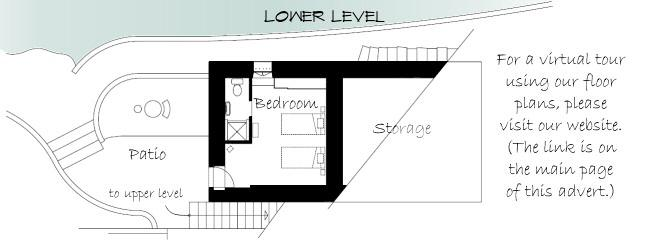 Floor plan for the lower level and patio.