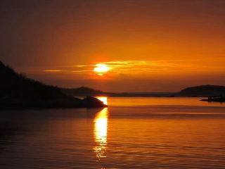 Midnight sun in the Myrland fjord