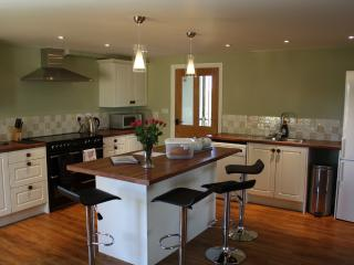 The spacious kitchen with electric range cooker
