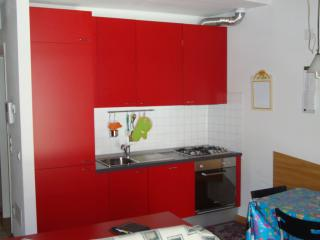 cucina dotata di piano cottura a gas, forno elettrico, lavastoviglie, frogorifero e congelatore