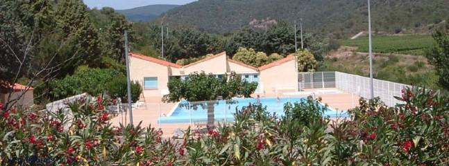 The public pool with fantastic mountain views