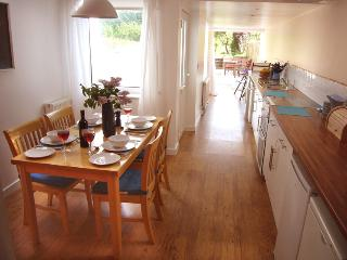 The sunny kitchen and dining area
