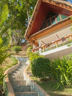 Steps up to villa
