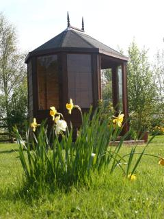 Summer house at the top of the meadow, looking out over the lake, wildlife ponds and flower meadow.