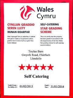 Visit Wales 5 Star Status, awarded Feb 2013