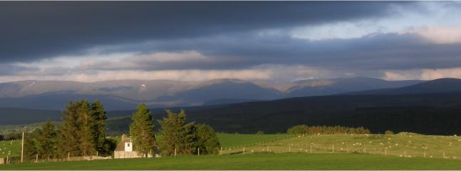 View from the cottages towards the Cairngorms.