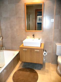 Bathroom with shower, bath and bidet. Luxury bath towels and products!