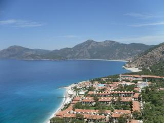 Olu-Deniz, our local beach which is only 3Klms away, features the blue lagoon.