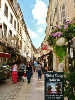 Cafés and shops in the pedestrian area of Beaune