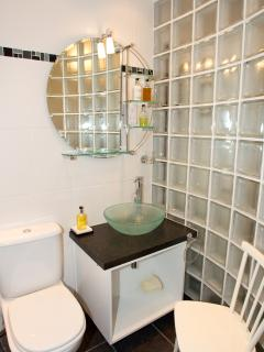 Family bathroom with curved glass block wall