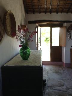 front door in the living room on the sunny southern side
