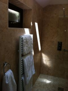 the new travertine wetroom