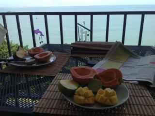 Healthy Tropical breakfast on the balcony