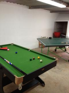 Snooker and Table Tennis tables in the games room